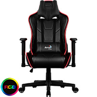 Aerocool AC220 Air RGB Black Gaming Chair with Air Technology and Headrest & Backrest Cushions Included - Click below for large images