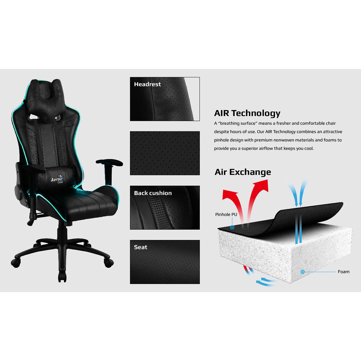 Aerocool Ac120 Air Rgb Black Gaming Chair With Air