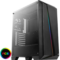 Aerocool Cylon Pro Black RGB LED Mid-Tower Gaming Case Tempered Glass - Click below for large images