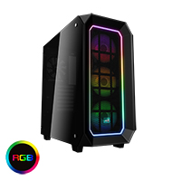 Aerocool Project 7 P7C0 Black Pro16.8 Mil Colour RGB Fans & Hub Dual Tempered Glass Panels - Click below for large images