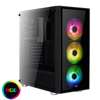 Aerocool Quartz RGB Black Midi Tower Glass Front & Side Panel  - Click below for large images