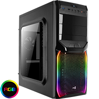 Aerocool V3X Black RGB Midi Gaming Case with Window & Two RGB LED Stripes - Click below for large images