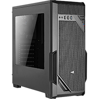 Aerocool VS-1 Black Mid-Tower Gaming Case with Large Front Mesh & Side Window - Click below for large images