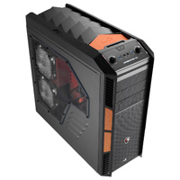 Aerocool X-Predator X3 Evil Black Gaming Case Black Interior 20CM Orange LED Fan - Click below for large images
