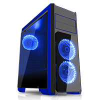 CiT Flash Mid Tower Black Blue With 3x12cm 33 Blue LED Fans Glass Side Top Front - Click below for large images