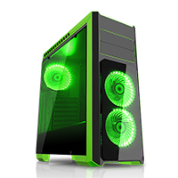 CiT Flash Mid Tower Black Green With 3x12cm 33 GRN LED Fans Glass Side Top Front  - Click below for large images