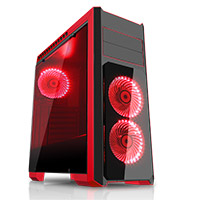 CiT Flash Mid-Tower Black Red With 3x12cm 33 Red LED Fans Glass Side Top Front - Click below for large images