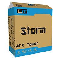 CiT Storm Black ATX Case 1 x 12cm Blue LED Front Fan - Click below for large images