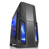 CiT Storm Black ATX Case 1 x 12cm Blue LED Front Fan - Click below for large images