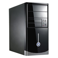 CiT 1015BS Gloss Black/Silver Micro ATX Case 500W PSU - Click below for large images