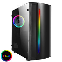 CiT Beam MATX Gaming Case Rainbow RGB Strip 1 x Rainbow RGB fan Acrylic Side - Click below for large images