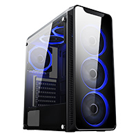 CiT Blaze Mid-Tower Gaming Chassis 6 x Single Ring Fan Blue Tempered Glass  - Click below for large images