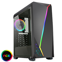 CiT C6063 with RGB Strip 1 x LED Fan and Side Window - Click below for large images