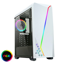 CiT C6063 White with RGB Strip 1 x LED Fan and Side Window - Click below for large images