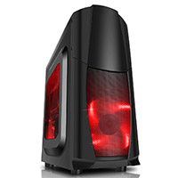 CiT Dragon³ Midi Black Case With 12cm Red LED Fans & Side Window  - Click below for large images