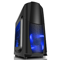 CiT Dragon³ Midi Black Case With 12cm Blue LED Fans & Side Window - Click below for large images