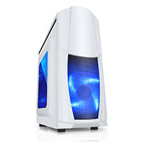 CiT Dragon³ Midi White Case With 12cm Blue LED Fans & Side Window  - Click below for large images