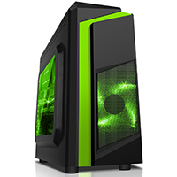 CiT F3 Black Micro-ATX Case With 12cm Green LED Fan & Green Stripe - Click below for large images