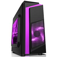 CiT F3 Black Micro-ATX Case With 12cm Purple LED Fan & Purple Stripe - Click below for large images