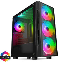 CiT Flash Gaming Matx Case 4x ARGB fans TG Front and Side Panels EPE - Click below for large images