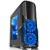 CiT G Force Black Case 1 x USB3 2 x 12cm Blue 15 LED Front Fans - Click below for large images