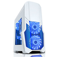 CiT G Force White Case 1 x USB3 2 x 12cm Blue 15 LED Front Fans - Click below for large images