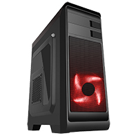 CiT Hero Midi Case with 1 x 12cm Front Red LED Fan & 1 x USB3 with Side Window - Click below for large images