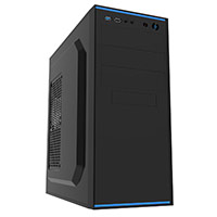 CiT Jet Stream Black Midi Case With Blue Stripe 500W Power Supply - Click below for large images