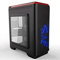 CiT Lightspeed Black Case With Inbuilt LED Light System 2x LED Blue Fans USB3 x1 - Click below for large images