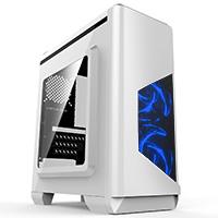 CiT Lightspeed White Case With Inbuilt LED Light System 2x LED Blue Fans USB3 x1 - Click below for large images