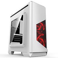CiT Lightspeed White Case With Inbuilt LED Light System 2x LED Red Fans USB3 x1 - Click below for large images