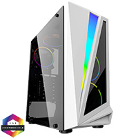 CiT Mars ARGB White Gaming Case Glass Window USB3.0 HD Audio EPE 4 Fans MB Sync - Click below for large images