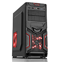 CiT Red Devil Mesh Gaming Case Black/Red Interior USB3 12cm Red LED Toolless - Click below for large images