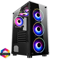 CiT Mirage F6 6x RGB Rainbow Fans TG Front and Side Panel - Click below for large images