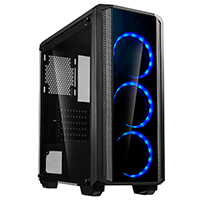 CiT Quantum Midi Tempered Glass Gaming Case 3 x Blue Dual Side LED Fans - Click below for large images