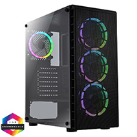 CiT Raider AIR Case 4 x Halo ARGB Fans Mesh Front Side Glass MB SYNC - Click below for large images