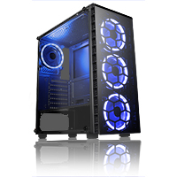 CiT Raider Mid-Tower Gaming Case With 4 x Halo Ring Blue Fans Tempered Glass Front Panel - Click below for large images