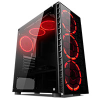 CiT Raider Mid-Tower Gaming Case With 4 x Halo Ring Red Fans Tempered Glass Front Panel - Click below for large images