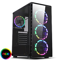 CiT Raider Gaming Case 4 x Halo Spectrum RGB Fans Glass Front and Side MB SYNC - Click below for large images
