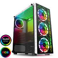 CiT Raider White 4 x Halo Spectrum RGB Fans Glass Front and Side MB SYNC - Click below for large images