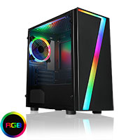 CiT Seven MATX Gaming Case Rainbow RGB Strip 1 x Rainbow RGB Fan Acrylic Side - Click below for large images