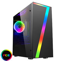 CiT Seven MATX Gaming Case Rainbow RGB Strip, 1 x Rainbow RGB Fan Acrylic Side - Click below for large images