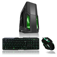 CiT Storm Black Atx Case 1 x 12cm Green LED Front Fan+ Keyboard & Mouse Set - Click below for large images