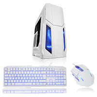 CiT Storm White Atx Case 1 x 12cm Blue LED Front Fan + Keyboard & Mouse Set - Click below for large images