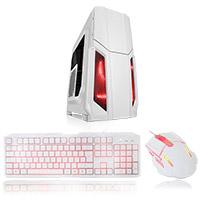 CiT Storm White Atx Case 1 x 12cm Red LED Front Fan + Keyboard & Mouse Set - Click below for large images