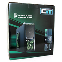 CiT Vantage Green Midi Mesh Gaming Case Black Interior 4 Fans (3 Green LED) Card Reader No PSU - Click below for large images