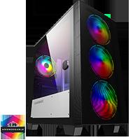GameMax Aero Mini ARGB Case 4 x ARGB Fans Black With White Internals - Click below for large images