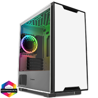 GameMax Commando MATX White 1x Side Window 1 x ARGB Velocity Fan - Click below for large images