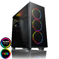GameMax Crusader Rainbow RGB 3 pin Hub with 4 x Mirage Fans TG Front and Side  - Click below for large images
