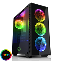 Game Max Draco Black RGB 4 x 12cm RGB Fans Tempered Glass Side & Front Panels  - Click below for large images